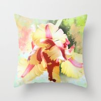water colour Throw Pillows featuring Water colour parrot tulip by thea walstra