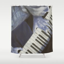 Piano blues man Shower Curtain