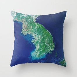 South Korea - High resolution satellite view of Earth from Space - Color Throw Pillow