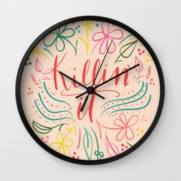 floral killin' it Wall Clock