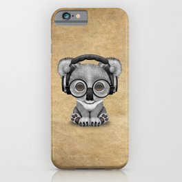 Cute Baby Koala Bear Dj Wearing Headphones iPhone Case