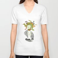 medusa V-neck T-shirts featuring Medusa by Rod Perich