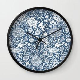 William Morris Navy Flower Field Pattern Wall Clock