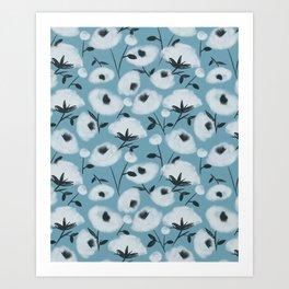 Cotton Flowers on Blue Pattern Art Print