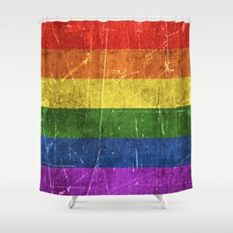 Vintage Aged and Scratched Rainbow Gay Pride Flag Shower Curtain