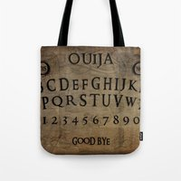 ouija Tote Bags featuring Ouija (Gravedigger) by Impale Design