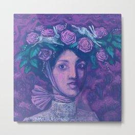 Midsummer Hat, Summer Fantasy, Imaginary Portrait, Beautiful Girl Metal Print