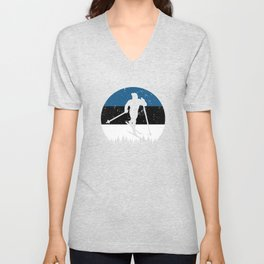 Cross-Country Skiing Gift for Winter Sports Fans Unisex V-Neck