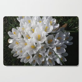 WHITE SPRING CROCUSES Cutting Board
