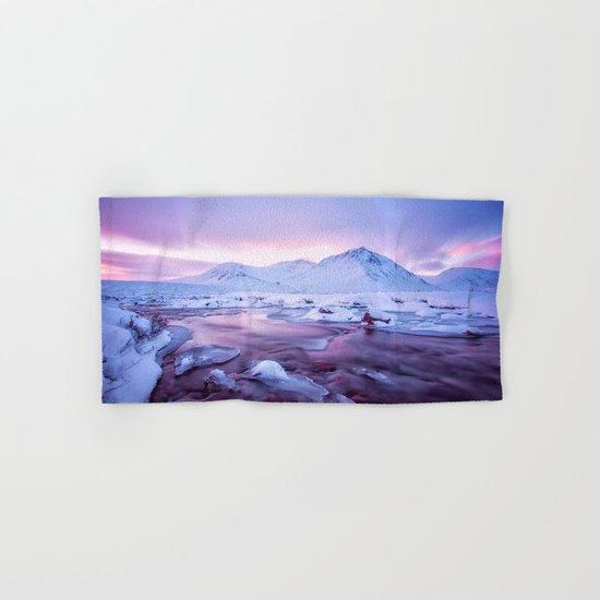 Freezing Mountain Lake Landscape Hand & Bath Towel