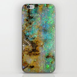 Agate Opal iridescent holographic faux druse crystal quartz gem gemstone geode mineral stone photo iPhone Skin
