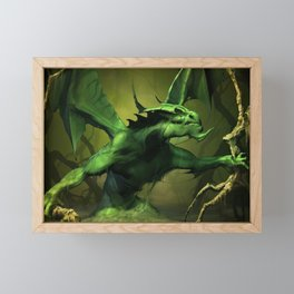 Very Fearsome Green Powerful Giant Angry Dragon Ultra HD Framed Mini Art Print
