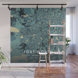 Fort Worth, United States - Cream Blue Wall Mural
