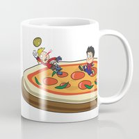 soccer Mugs featuring Soccer pizza by flydesign