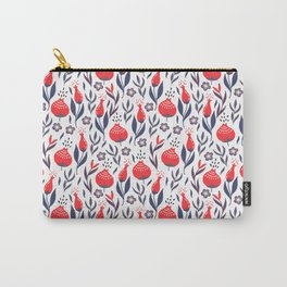 Retro Floral Red + Navy Blue + Gray Carry-All Pouch