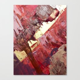 Desert Sun: A bright, bold, colorful abstract piece in warm gold, red, yellow, purple and blue Canvas Print