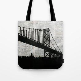 News Feed , Newspaper Bridge Collage Tote Bag