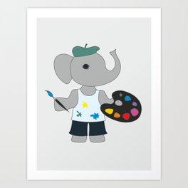 Cartoon elephant - the artist illustration. Art Print