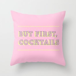 Pastel Pink Party Cocktails Throw Pillow