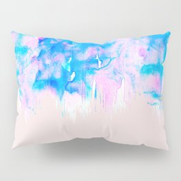 Girly Pastel Pink and Blue Watercolor Paint Drips Pillow Sham