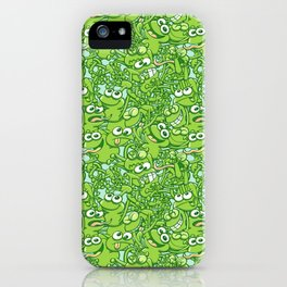 Funny green frogs entangled in a messy pattern iPhone Case