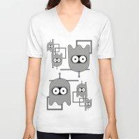 bender V-neck T-shirts featuring Bender as Pac-man by Martha Calderon