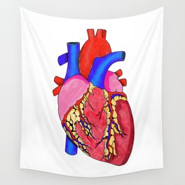 Anatomical Heart Illustration, Medical Illustration, Human Heart Wall Tapestry