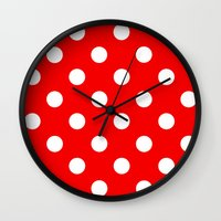 polka dots Wall Clocks featuring Polka dots  by MIKITCHU