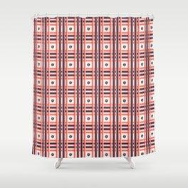 Hand drawn coral blue tartan floral check stripes Shower Curtain