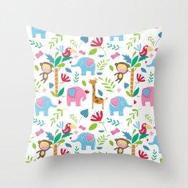Kids Jungle Pattern Throw Pillow