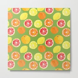 Grapefruit Lemon Orange on Greenery Background Metal Print
