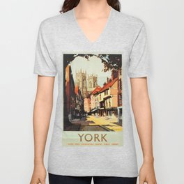 York Vintage Travel Poster Unisex V-Neck