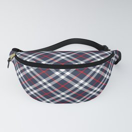 Red White and blue Tartan Fanny Pack