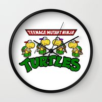 teenage mutant ninja turtles Wall Clocks featuring Teenage Mutant Ninja Turtles Mario by tshirtsz