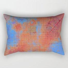Beijing Street Map Art Watercolor Apocalyptic Earth Rectangular Pillow