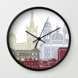 Marseille skyline poster Wall Clock