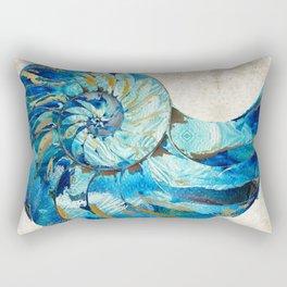 Tropical Blue Beach Art - Nautilus Shell Bleu 2 - Sharon Cummings Rectangular Pillow