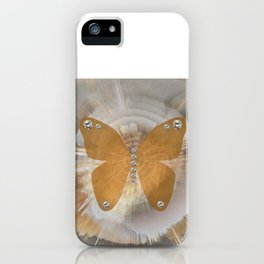 Golden Butterfly with Diamonds iPhone Case