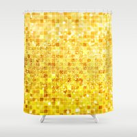 gold glitter Shower Curtains featuring Disco Gold - Glitter by Paula Belle Flores