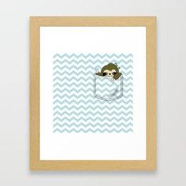 sloth in my pocket Framed Art Print