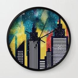 New York City Skyscrapers In Watercolor Art, New York Poster, Wall Art Home Decor, City Skyline Art Wall Clock
