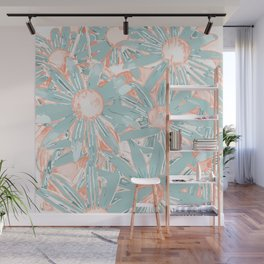 Floral Daisy Pattern, Coral and Teal Wall Mural