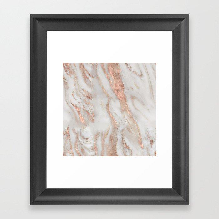 Rose gold foil metallic marble stone granite rock framed art print