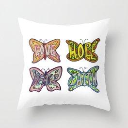 Butterfly Inspirational Words Throw Pillow