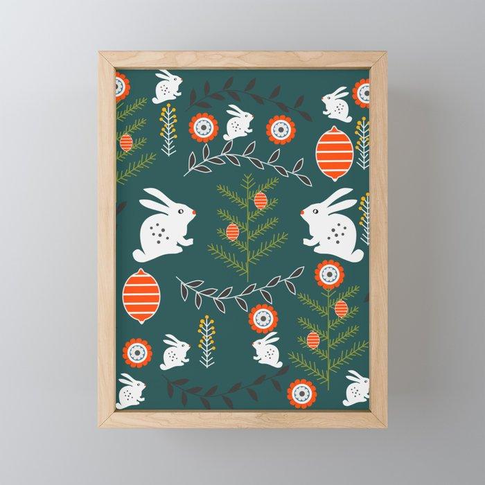 Winter holidays with bunnies Framed Mini Art Print
