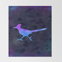 ROADRUNNER IN SPACE // Animal Graphic Art // Watercolor Canvas Painting // Modern Minimal Cute Throw Blanket