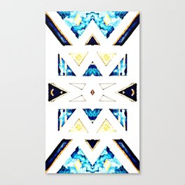 Triangular Pattern in Gold, Black and Blue Canvas Print