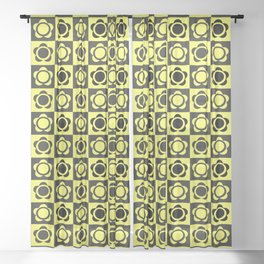 RETRO FLOWER - YELLOW AND BLACK Sheer Curtain