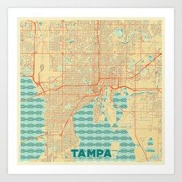 Tampa Map Retro Art Print