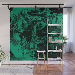 Green and black Marble texture acrylic Liquid paint art Wall Mural